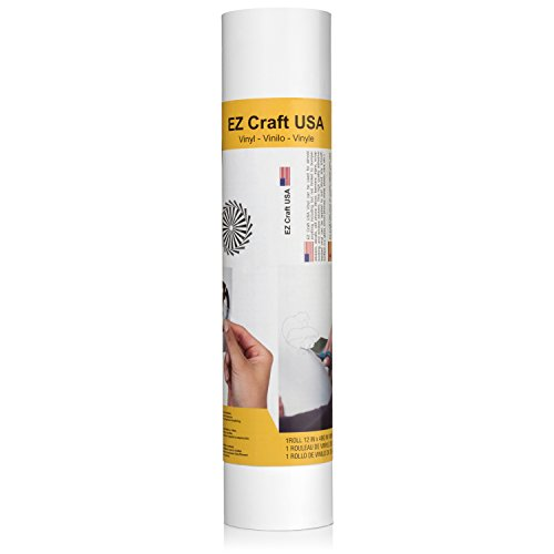 """Matte White Adhesive Vinyl Roll – Huge Matte Adhesive Permanent White Vinyl Rolls – 12""""x40FT White Vinyl Sheets are The Best Vynil – EZ Craft USA White Vinyl Wrap Works with Cricut and Other Cutters"""