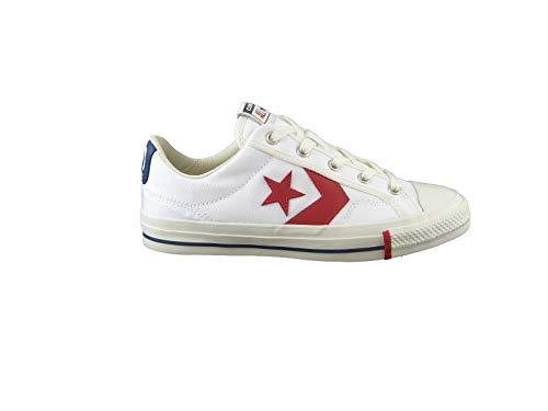 Converse Sneaker Star Player - Ox - White/Gym R Taglia 39 - Colore Bianco/Blu/Rosso