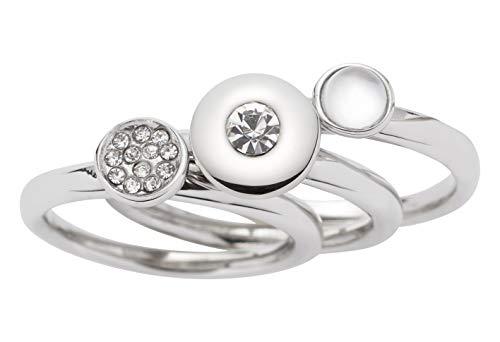 Leonardo Damen-Ring aus Edelstahl Silber mehrteilig I Fingerring Set mit Steinen, Perlen und Kristallen I mehrreihig und individuell tragbar, Gr. 53