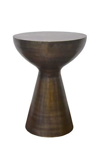 ASPECT Luna Beistelltisch aus Aluminium, handgefertigt, antikes Messing, Metall, metallisch, 31.5 Dia x44.5(H) cm