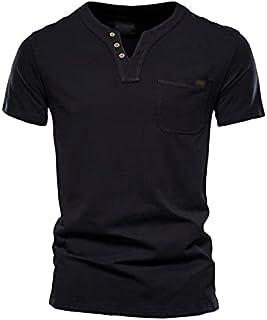 Fbnzmluqdx Tshirt for Men Summer Top Quality Cotton T Shirt Men Solid Color Design V-neck T-shirt Casual Classic Men's Clo...