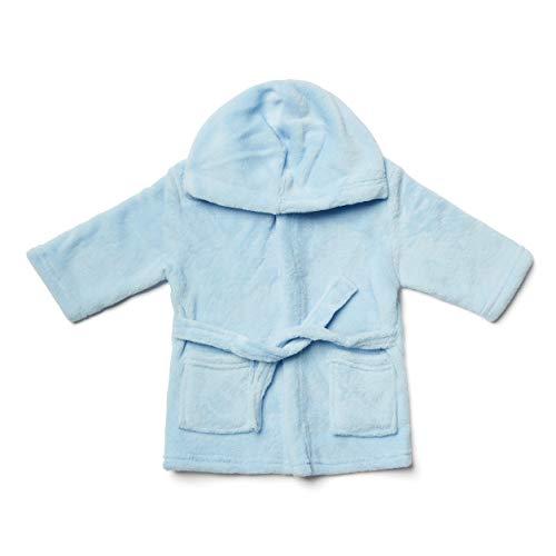 Baby-Bademantel, 0-6 Monate, mit Kapuze, superweich, Fleece, Blau