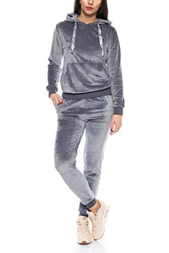Crazy Age Damen Anzug Freizeit Sport Alltag | Samt Nicki Velvet | Kuschelig Sportlich Elegant | XS - XL (Grau, XS)