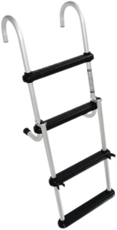 Windline FDL4B Marine Removable Folding Pontoon Boat Ladder with 4 Plastic Steps