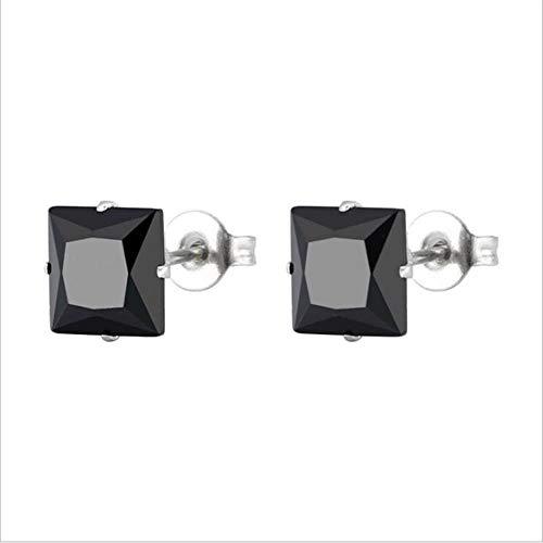 Ltong-maat van 3 mm tot 8 mmroestvrij staal met vierkante zwarte zirkonen oorbellen voor mannen en vrouwen, goud, 8 mm