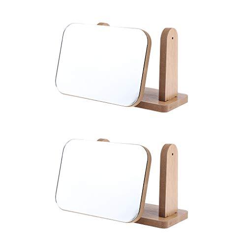 perfeclan 2pcs Miroir de Maquillage, Miroir de Poche Compact, Réglable, 360 Degrés Rotation Idéal Pour Maquillage, Rasage, Soins De Peau, Décoration