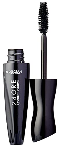 Deborah Mascara 24ORE Absolute Volume Black, effetto Ciglia Finte, Lunga Durata, con Maxi Volume DH Complex e Maxi Applicatore che Avvolge e Separa le Ciglia
