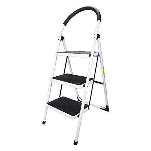 Tengfei Inicio 3 Escalera de Mano, de Acero Resistente, Plegable, portátil con Antideslizante Mat,Negro