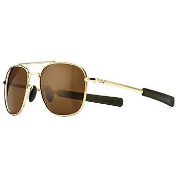 SUNGAIT Men s Military Style Polarized Pilot Aviator Sunglasses - Bayonet Temples  Gold Frame/Brown Lens 55  SGT285 JKC