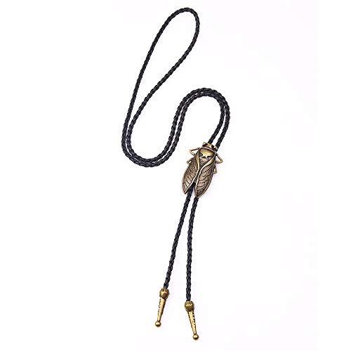 Wuyuana Bolo Tie Intage - Collar con colgante de cuero, para hombre, de aleación, estilo retro, para camisa, cuello hueco, collar largo de corbata, puntas de corbata (color: G)