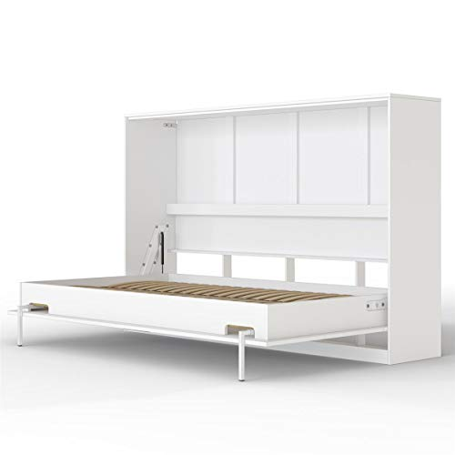 SMARTBett Basic Cama abatible Cama Plegable Cama de Pared (Blanco, 120 x 200 cm Horizontal)