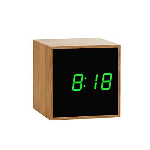 AjAC Digitale wekker, groot led-scherm, geluidsloze sluimering, draagbare elektronische multifunctionele bamboespiegelklok met temperatuurgeruisloze wooncultuur. groen