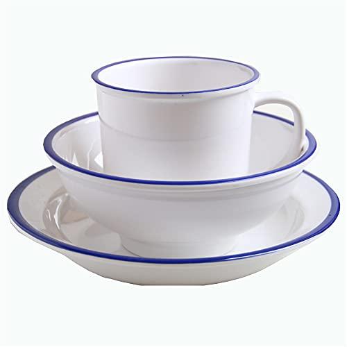 SYLC Tableware 3pc Esmalte De Vajilla-Platos/Cuencos/Taza, Vajilla Juego para Camping, Acampan Al Aire Cuencos De Café (2 Juego,Blanco Redondo)