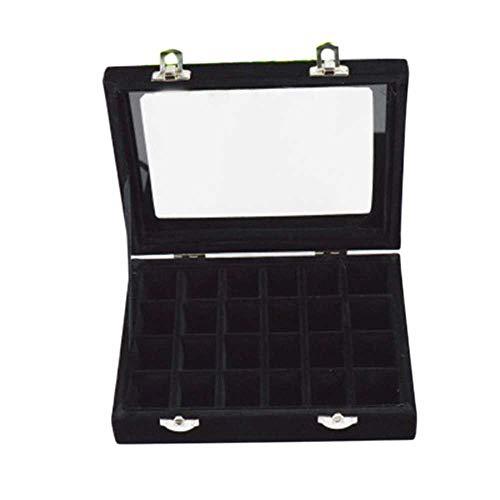 24 Ranuras De Madera Cubierta Transparente Hebilla Pendientes Joyería Caja De Almacenamiento Organizador