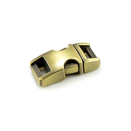 Kliksluiting van metaal in 3-delige set, 3/8'' clipsluiting/steeksluiting/steeksluiting voor paracord-armbanden, hondenhalsbanden, rugzak, kleur: vintage goud