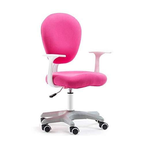 Gooxiaomei Bureaustoel, comfortabel, ademend, gemakkelijk te reinigen stoel, schooletui, gevoerde bureaustoel, ergonomische draaistoel roze