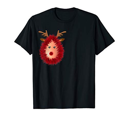 Funny Reindeer Boobs Ugly Christmas Sweater Tinsel Deer Nose T-Shirt