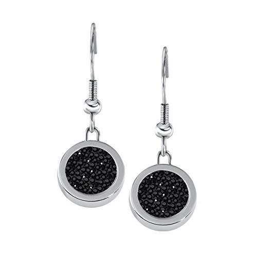 Quiges Silber Edelstahl Ohrringe 12mm Mini Coin Tropfen Ohrhänger und Schwarze Zirkonia Coin