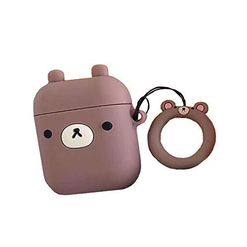 ICI-Rencontrer 3D Cute Cartoon Animal Coffee Bear Airpods Case Girls Women Soft Silicone Wireless Headset Anti-Scratch Protective Chargeing Accessories with Hang Decoration Coffee