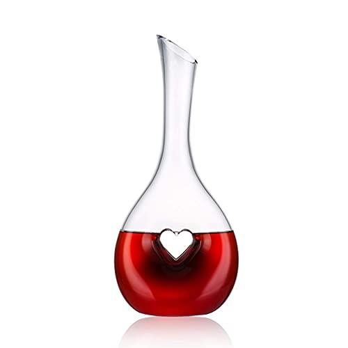 XYJ Finest Wine Decanter - 1000ml en forma de corazón con forma de corazón con tela de microfibra - Decantador de vino tinto - Regalos del día de San Valentín - Accesorios para vinos - Regalos para am
