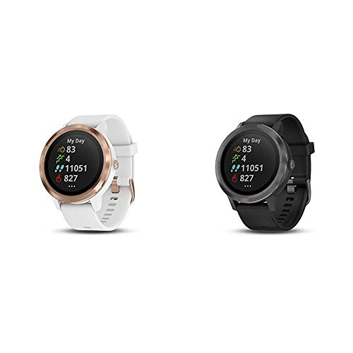 Garmin vívoactive 3, GPS Smartwatch with Contactless Payments and Built-in Sports Apps, White/Rose Gold & vívoactive 3, GPS Smartwatch Contactless Payments Built-in Sports Apps, Black/Slate
