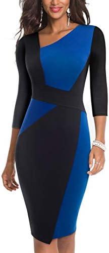 HOMEYEE Women Vintage Contrast Color Patchwork Work Business Dress B517 10 Blue Black 3 4 Sleeve product image
