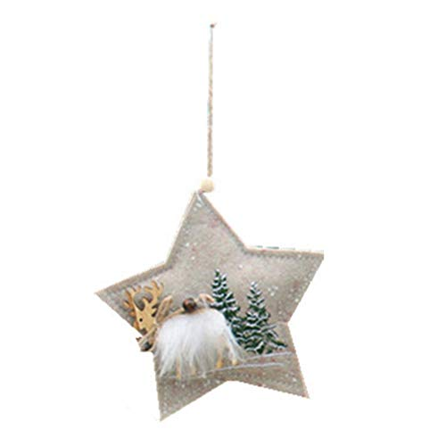 Xuanya Christmas Woodn Pendant Ornaments Five-Pointed Star Fabric Christmas Tree Decoration for Home Restaurant Supplies