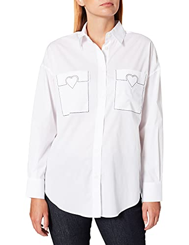 Love Moschino Loose Fit Long Sleeved Shirt in Stretch Poplin with Chest Pockets Featuring Decorative Stitching and Customized Heart. Camisa, Blanco óptico, 42 para Mujer