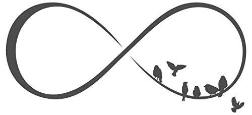dekodino® Wandtattoo Liebe Unendlichkeitszeichen Schlafzimmer Vögel sitzend