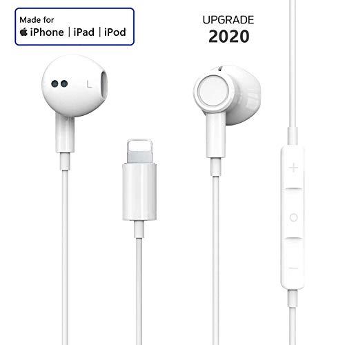 Auriculares para iPhone Auriculares con Cable Auriculares Proporcionan Control de micrófono y Volumen Compatible con iPhone 11/11Pro/Max/XS/Max/XR/X/8/Plus/7 para iOS 10/11/12 (Blanco)