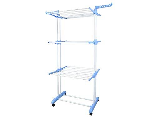 ISO TRADE Wäscheständer Klappbar Mobil 4 Rollen 6 Flächen 3 Ebenen Sicherheitsrollen Ablage 4380