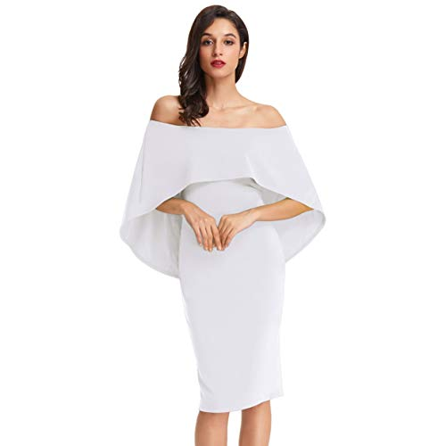 GRACE KARIN Damen Elegant Ärmllos Kleid Knielang Kleid Cocktail Kleid Brautjungfern Kleid Weiß CLAF0039-4_XL