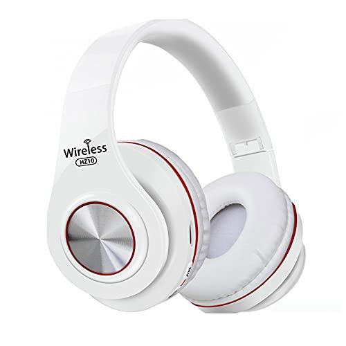 HZ-10 Auriculares inalámbricos sobre la oreja Auriculares plegables con micrófono estéreo FM TF tarjeta Bluetooth compatible con auriculares blanco