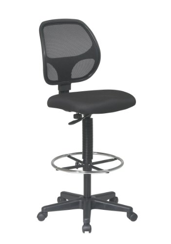 Office Star Deluxe Mesh Back Drafting Chair with 18.5' Diameter Adjustable Footring, Black Fabric...