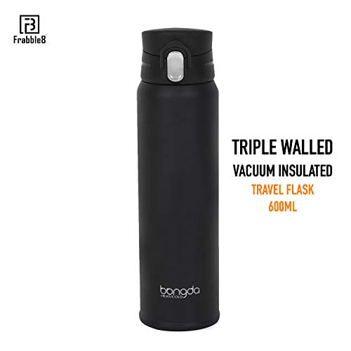 Frabble8 Triple Wall Vacuum Insulated Stainless Steel Bangda Flip Lid Flask || Thermos Water Bottle Retains Hot and Cold Temperature - 600ML (Black)