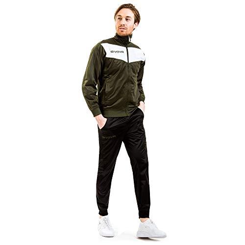 tuta uomo militare menitashop Tuta GIVOVA Uomo Donna Visa Fitness Calcio Blu Nero Bianco Giallo Rosso (Verde Militare/Nero