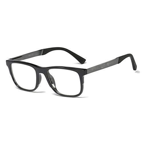 KOOSUFA Mode Brillengestelle Herren Damen Ultra Licht TR90 Federscharnier Business Brille Ohne Sehstärke Streberbrille Groß Pantobrille Brillenfassung mit Brillenetui (Helles Schwarz)