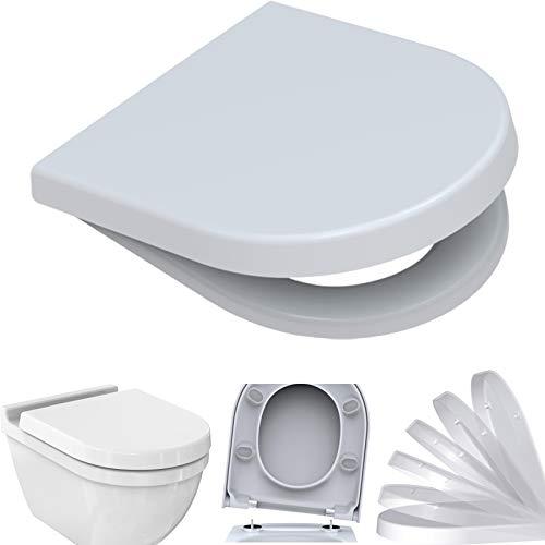 BADOSAN WC-Sitz für Duravit STARCK 3   mit Absenkautomatik SoftClose   D-Form   Edelstahlscharnier   antibakterielles Duroplast   weiß