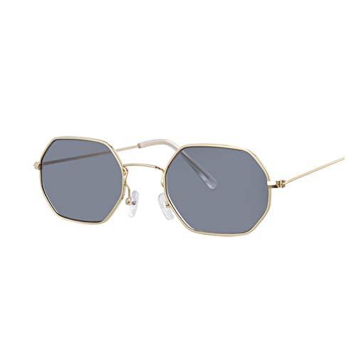 ZZDH Gafas de Sol Hexagonas Amarillas Gafas de Sol Mujeres Retro clásico Gafas de Sol para Gafas de Sol de Mujer Espejo de Gafas de Sol Regalo para Madres (Lenses Color : Gold Gray)