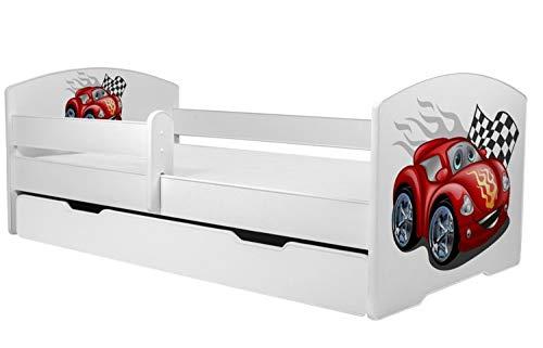 MEBLEKO - Cama infantil (140 x 70 cm, con cajón, colchón y barrera protectora)