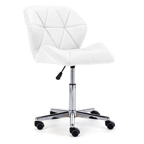 HNNHOME® Modern Uranus Padded Swivel Faux Leather Computer Desk Office Chair White