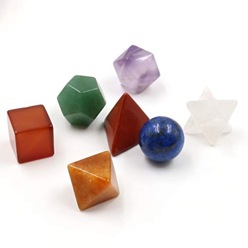 Conjunto de geometria sagrada com 7 chacras de cristal de cura VORCOOL com conjunto de pedras de chacra esculpidas em estrela Merkaba