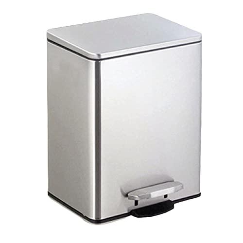 Cubo de basura de acero inoxidable cepillado con cubo interior desmontable cubo de basura con tapa suave Cubo interior cubo interior de plástico anti-huellas doble capa engrosamiento basura oculta Ba