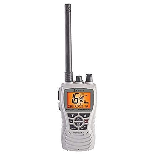 Cobra MR HH350W FLT Handheld Floating VHF Radio – 6 Watt, Submersible, Noise Cancelling Mic, Backlit LCD Display, NOAA Weather, Memory Scan, White