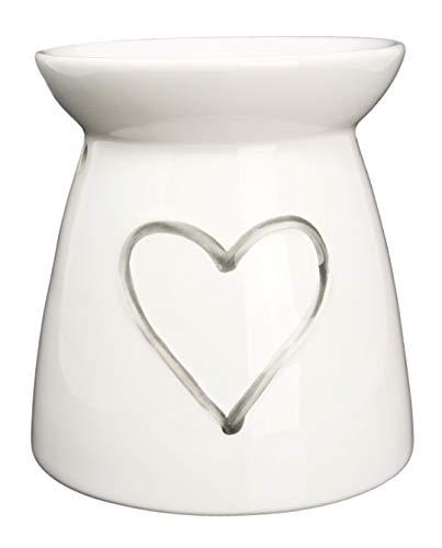 Piquaboo Bruciatore Porta Candele Cera Porcellana - Altezza 13 cm (Bianco)