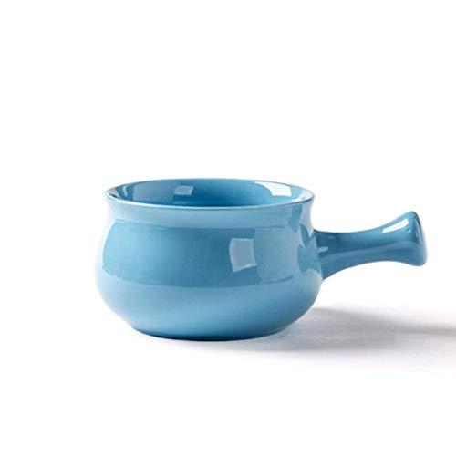 Tazón Tazón de cerámica Mango japonés anti-escaldado Lavabo de desayuno Gachas de ensalada creativas Vajilla 12x7.6cm vajillas hogar, tazón retro (Color : Blue)