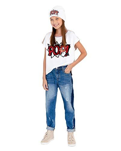 GULLIVER Jeans Mädchen Blau Jeanshosen Kinder Stretch Breit mit Patches 9-15 Jahre