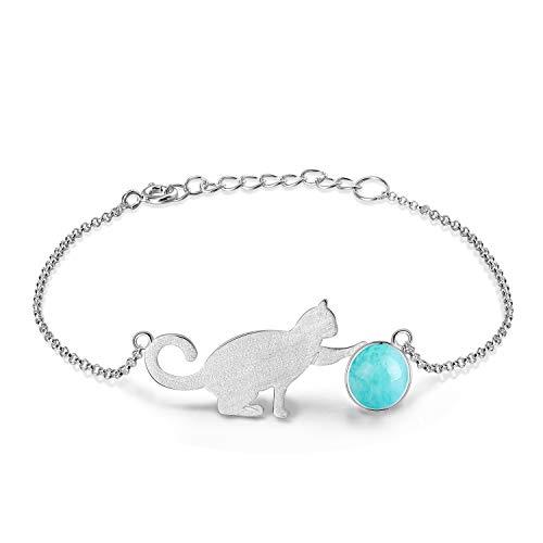 Lotus Fun S925 Sterling Silber Damen Armkette Katze Spielt die Ball Charm Armbander mit Kettenlänge 6.5''-7.6''.Handgemachte Einzigartige Schmuck (Sky Blue)