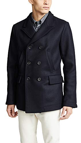 Billy Reid Men's Wool Double Breasted Bond Peacoat with Leather Details, Navy, X-Large