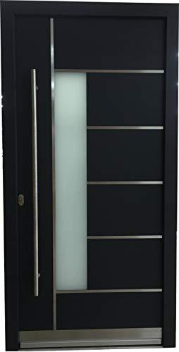 Haustür Welthaus WH94 RC2 Premiumtür Aluminium mit Kunststoff LA 40 Tür AUF LAGERTür 1100x2100mm DIN Links Farbe aussen Anthrazit Innen weiß außengriff BGR1400 innendrucker M45 Zylinder 5 Schlüßel